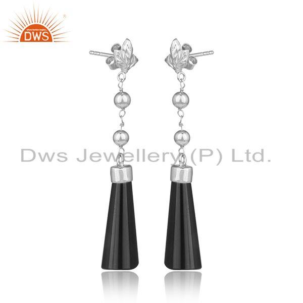 Designer silver longing earring with black onyx and white rhodium