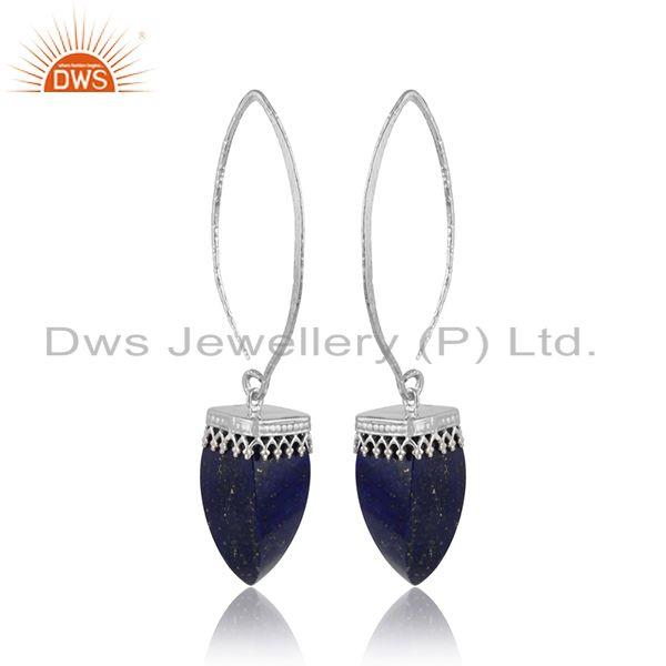 Longing lapis lazuli gemstone crown design 925 silver earrings