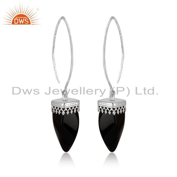 Designer long dangle earring in rhodium on silver and black onyx