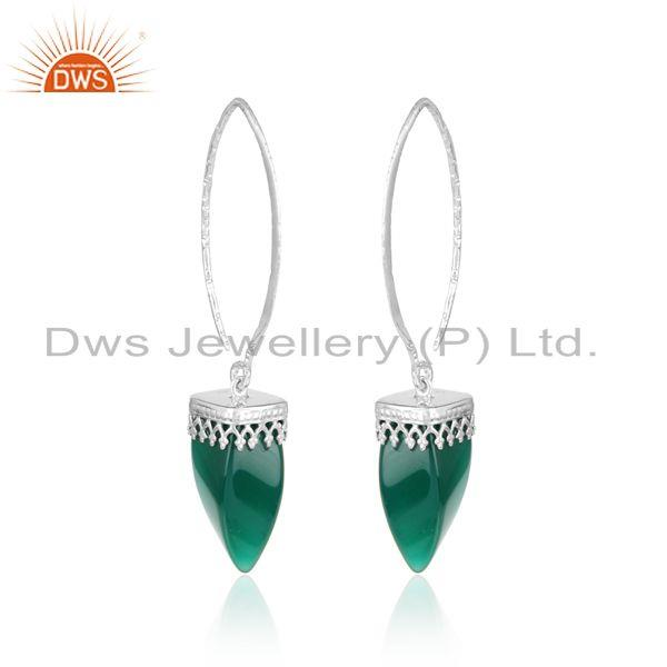 Designer long dangle earring in rhodium on silver and green onyx