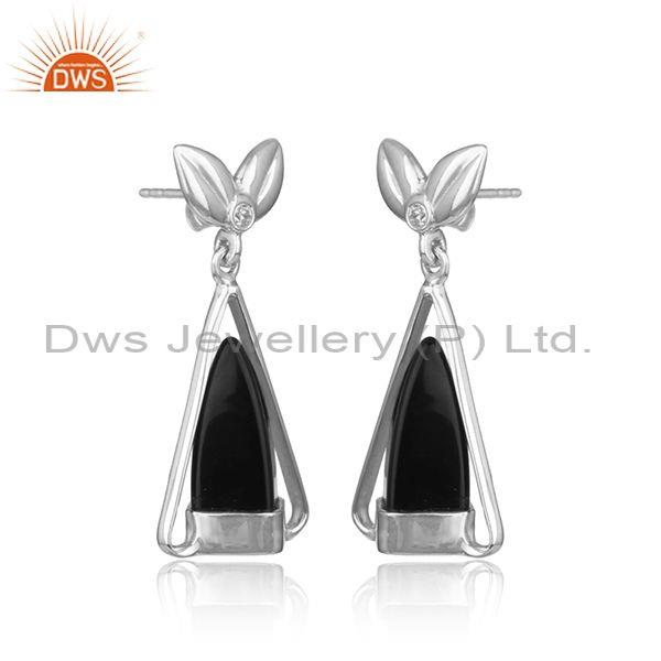 Designer silver earring with black onyx, cz and white rhodium