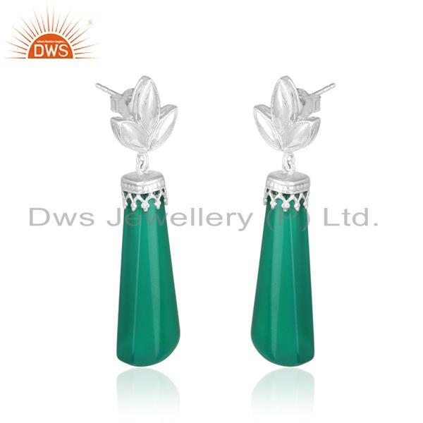 Designer leaf dangle in rhodium on silver and fancy green onyx