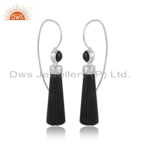 White rhodium over designer longing black onyx gemstone earrings