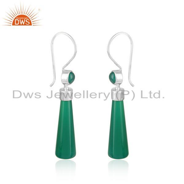 Longing green onyx designer dangle in rhodium on silver 925
