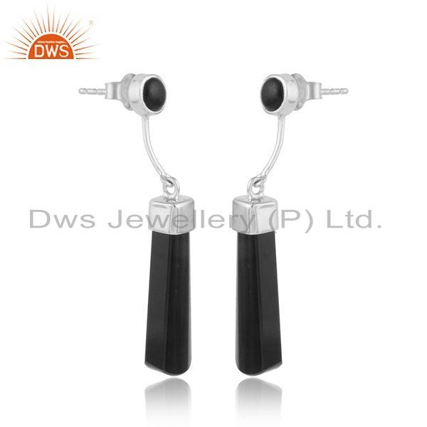 Black onyx gemstone designer white rhodium plated silver earrings