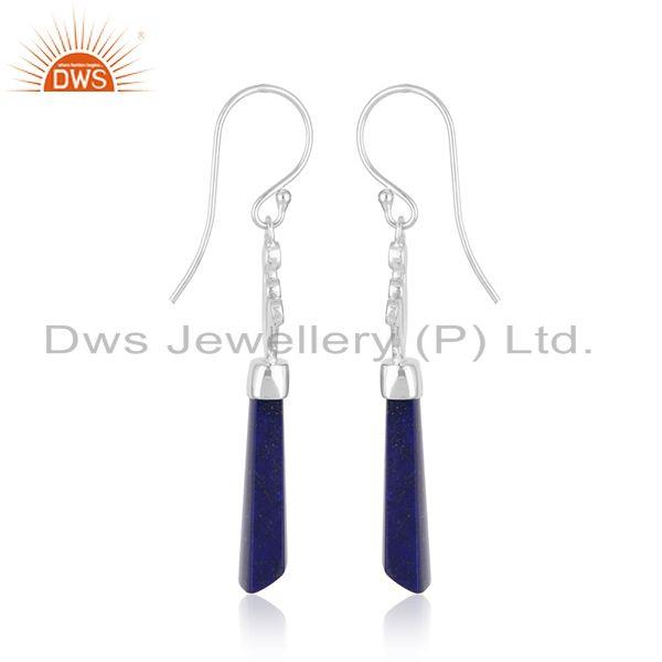 Exporter Stylish Sterling Fine Silver Natural Lapis Lazuli Gemstone Earrings