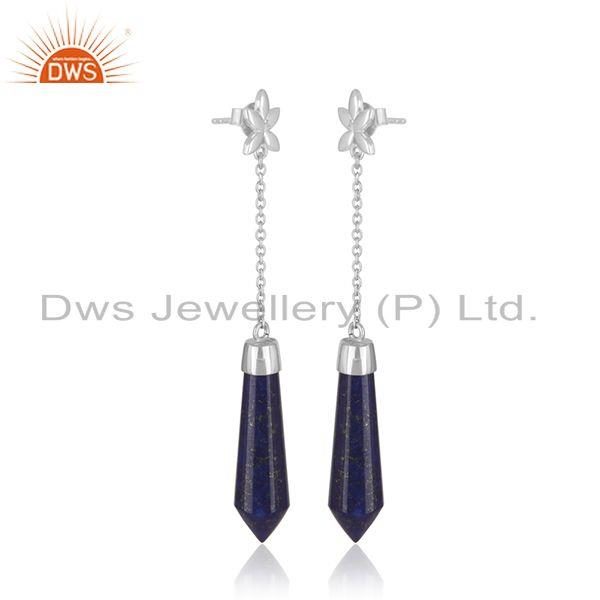 Supplier of Genuine Lapis Lazuli Gemstone Handmade Fine Sterling Silver Earrings