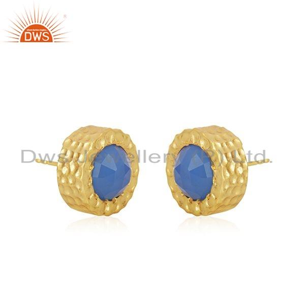 Exporter Gold Plated 925 Silver Blue Chalcedony Gemstone Stud Earrings Jewelry