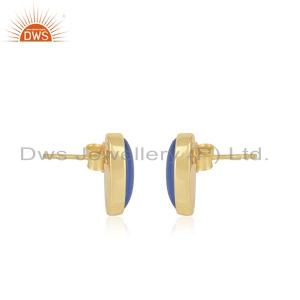 Exporter Blue Chalcedony Gemstone Gold Plated Silver Oval Shape Stud Earrings