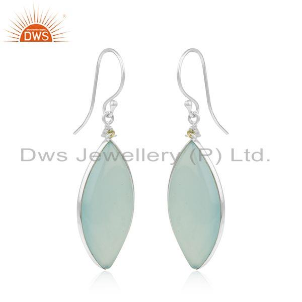 Manufacturer of Peridot and Aqua Chalcedony Gemstone Fine Sterling Silver Earrings