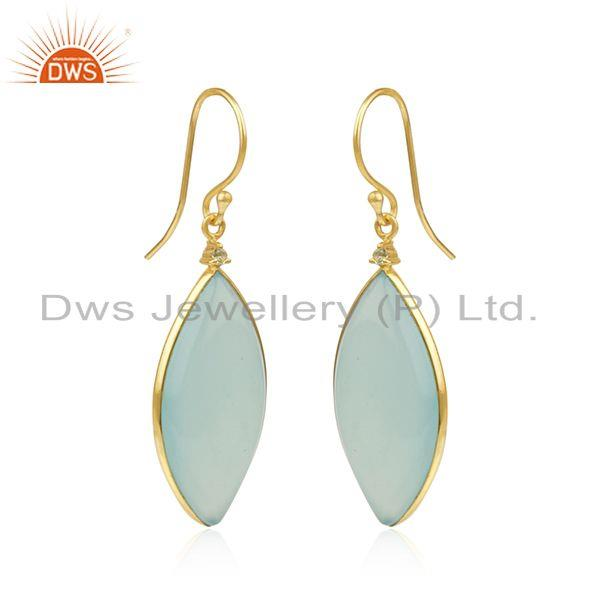 Exporter Aqua Chalcedony Gemstone Gold Plated 925 Sterling Silver Earrings