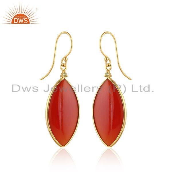 Exporter Marquoise Shape Red Onyx Gemstone Gold Plated Silver Earrings