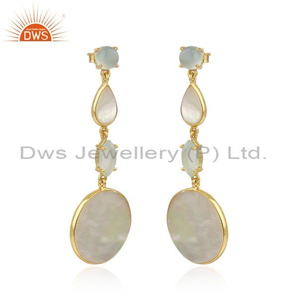 Wholesale Mother of Pearl Gemstone Handmade 925 Silver Gold Plated Earrings