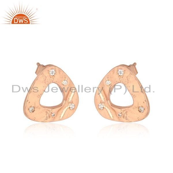 Exporter New Look Rose Gold Plated Silver CZ Gemstone Stud Earrings Jewelry