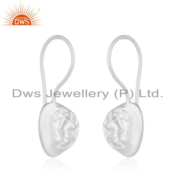 Exporter Handmade 925 Sterling Fine Silver White Zircon Earrings Manufacturer