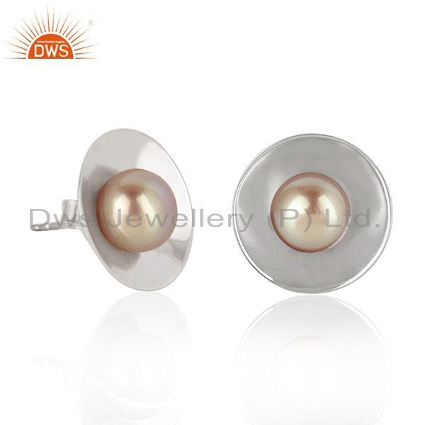 Supplier of White Rhodium Plated 925 Silver Gray Pearl Gemstone Stud Earrings