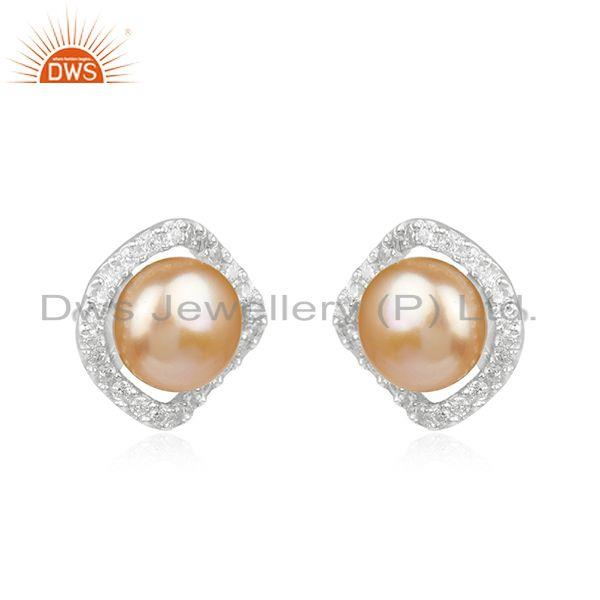 Exporter White Zircon and Pink Pearl Gemstone Fine Sterling Silver Stud Earring