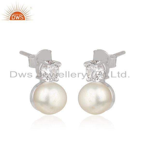 Exporter Zircon Natural Pearl White Rhodium Plated 925 Silver Earrings Jewelry