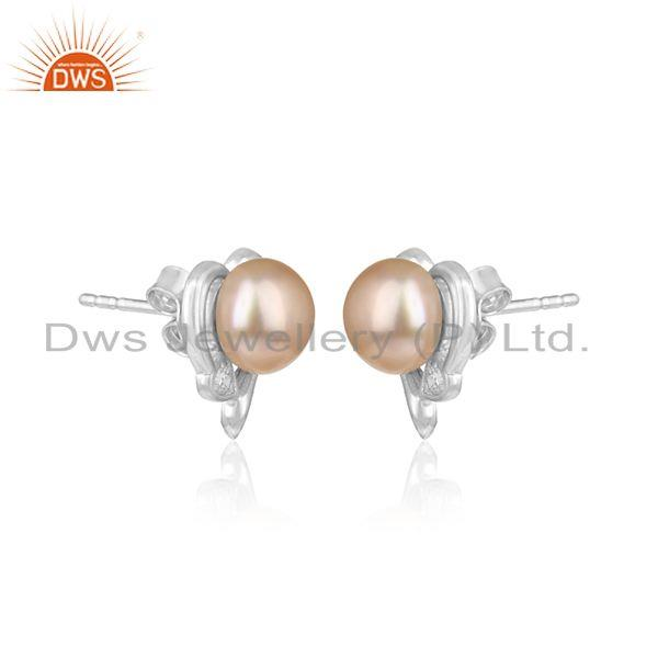 Cz pink pearl womens white rhodium plated silver earrings jewelry