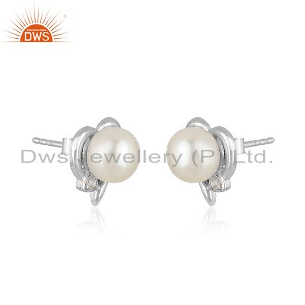 Exporter White rhodium Plated Silver CZ Pearl Heart Design Stud Earring Jewelry
