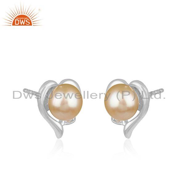 Exporter Natural Pink Pearl Gemstone Heart Design Sterling Silver Stud Earrings