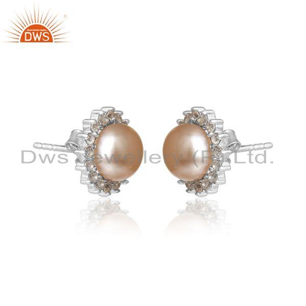 Sun design white rhodium plated silver pink pearl cz stud earring