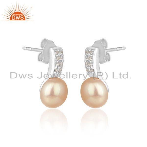 Zircon pink pearl gemstone silver white rhodium plated earrings