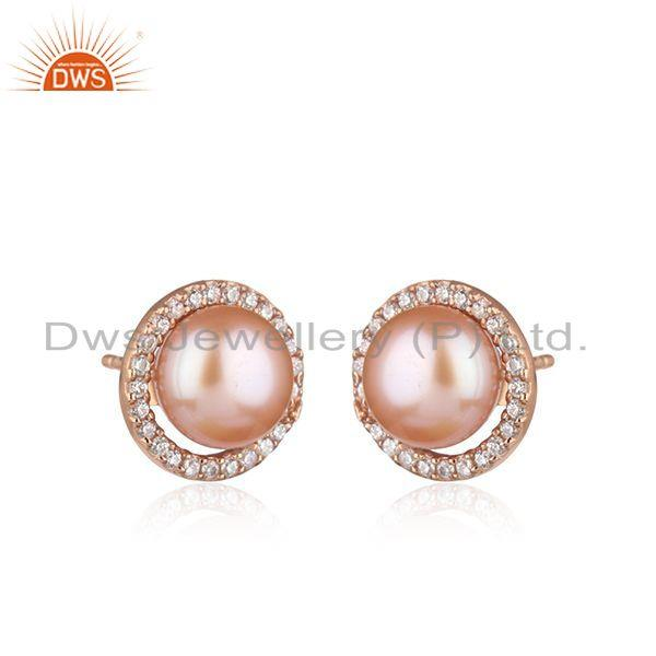 Exporter CZ Pink Pearl Gemstone Rose Gold Plated Silver Stud Earrings Jewelry