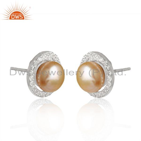 Exporter White Rhodium Plated 925 Silver Pearl CZ Gemstone Stud Earring Jewelry