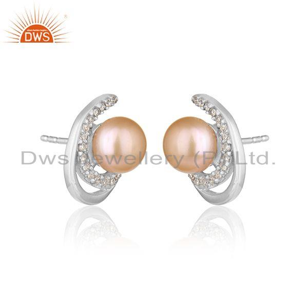 Designer white rhodium plated 925 silver cz pink pearl earrings