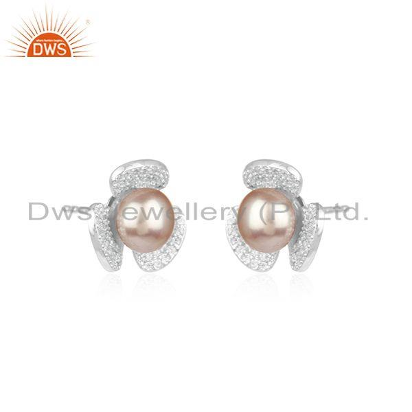 Manufacturer of Floral Design 925 Fine Silver White Zircon and Gray Pearl Stud Earring