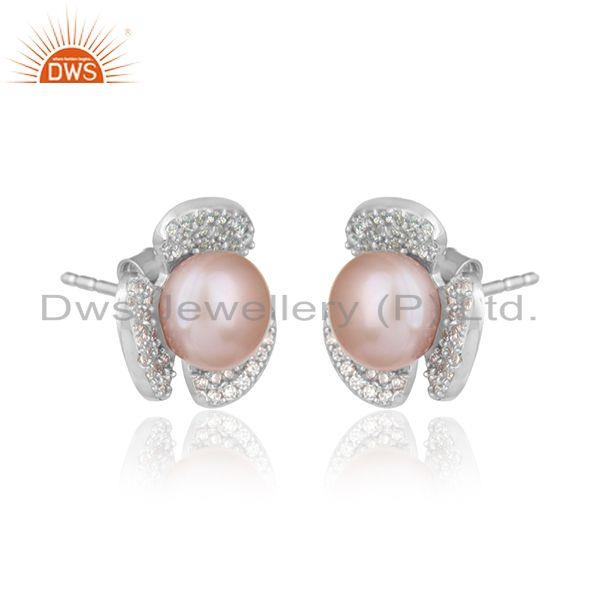 Flower white rhodium plated silver cz pink pearl gemstone earring