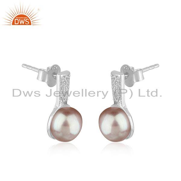 Exporter CZ Gray Pearl Gemstone White Rhodium Plated Silver Earrings Jewelry