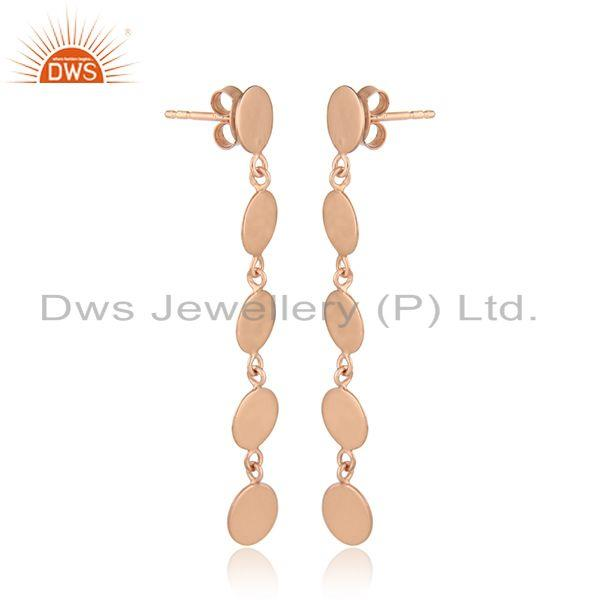 Handmade rose gold plated silver designer plain silver earrings
