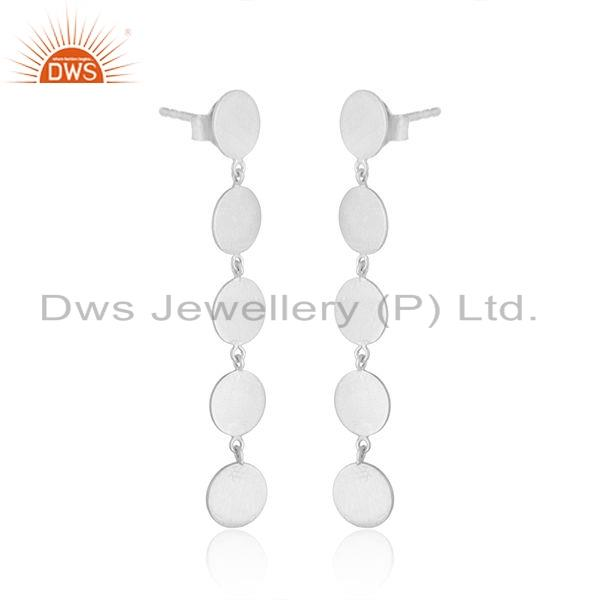 Exporter Hot Look Sterling Plain Silver Designer Girls Dangle Earrings Jewelry