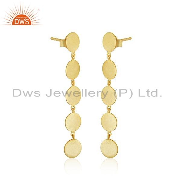 Exporter 14k Gold Plated Leaf 925 Plain 925 Silver Earrings Jewelry For Girls