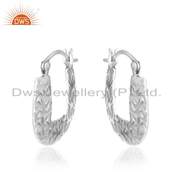 Exporter Oxidized Texture Sterling Plain Silver Earrings Jewelry For Girls