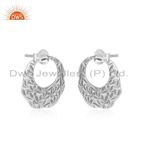 Exporter Handmade Texture 925 Sterling Plain Silver Oxidized Earrings Jewelry