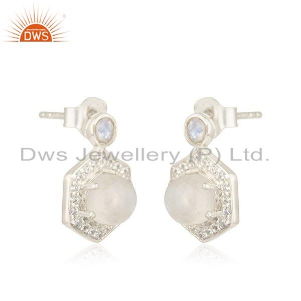 Exporter Indian Silver CZ Rainbow Moonstone Gemstone Designer Earrings Jewelry
