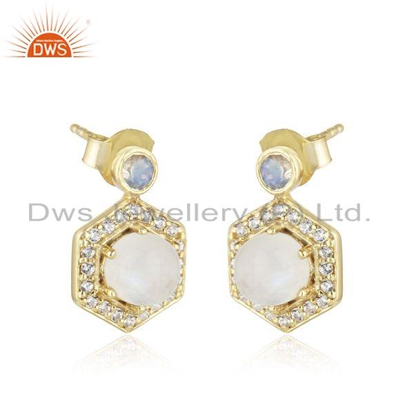 Exporter Rainbow Moonstone CZ Gemstone Gold Plated Silver Girls Earring Jewelry