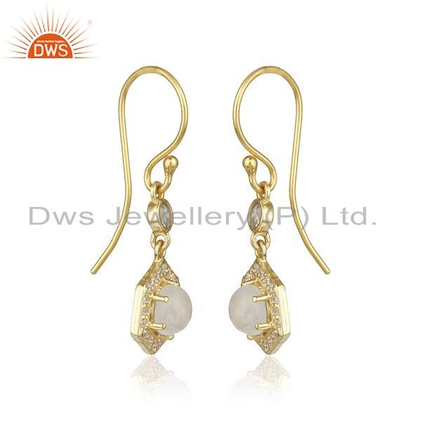 Exporter Gold Plated Silver Rainbow Moonstone CZ Gemstone Earrings For Womens
