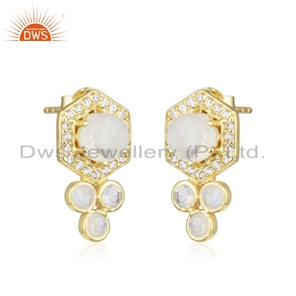 Exporter Designer Rainbow Moonstone CZ Gold Plated 925 Silver Earrings Jewelry