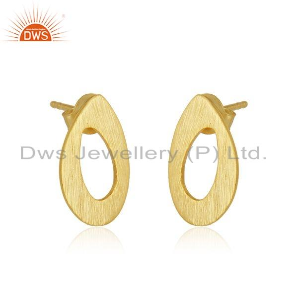 Exporter Texture 18k Gold Plated 925 Silver Stud Earrings Jewelry Supplier