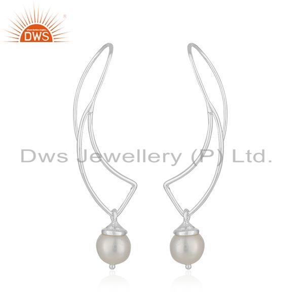 Exporter New Look Fine Silver Wholesale Natural Pearl Gemstone Earrings Jewelry