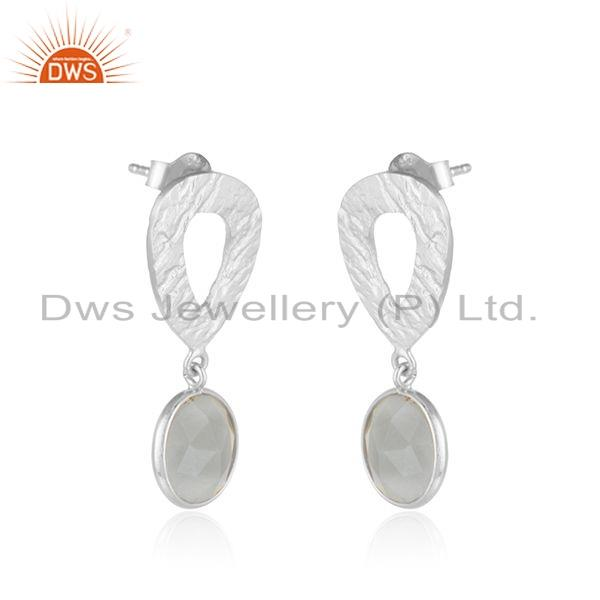 Exporter 925 Silver Gray Moonstone Gemstone Texture Handmade Earrings Jewelry