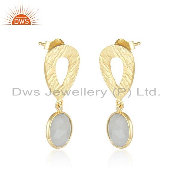 Exporter Texture Gold Plated Silver Gray Moonstone Gemstone Earrings Jewelry