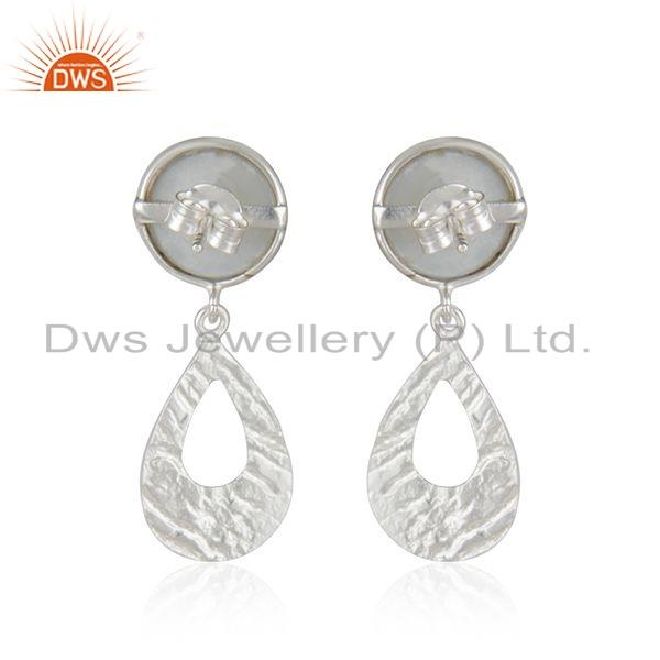 Exporter Gray Moonstone Gemstone Texture Sterling Silver Earrings Jewelry