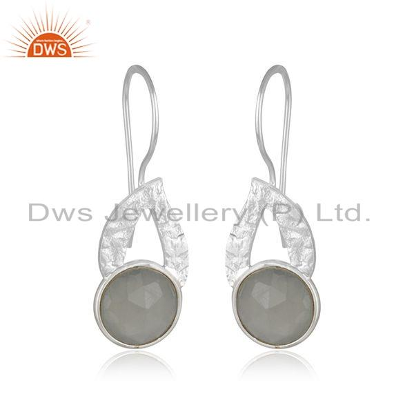 Exporter Gray Moonstone Gemstone Leaf Design Sterling Silver Earrings Jewelry