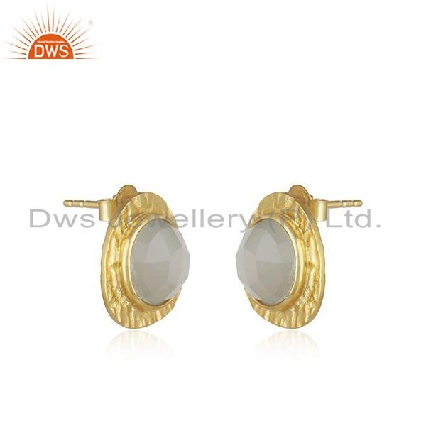 Exporter Texture Gold Plated 925 Silver Gray Moonstone Gemstone Stud Earrings