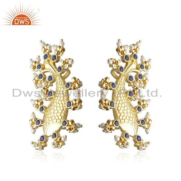 Exporter Gold Plated Silver Zircon Natural Pearl Statement Fish Stud Earrings
